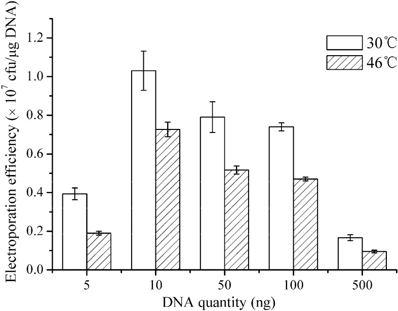 Plots of the electroporation efficiency as a function of the DNA quantity. When the OD 600 value reached 0.5, the weakening agents (0.64% Glycine, 1.02% dl -threonine, and 0.05% Tween 80) were added to the LBSP medium and the electro-competent competent cells were prepared. B. subtilis ZK cells were transformed with various quantities of the plasmid DNA (5–500 ng). The field strength was 20 kV·cm −1 and the electroporation buffer was TSMMKK. After electroporation, the cells were incubated in a water bath at 30 or 46 °C. The electroporation experiments were repeated three times, and the data shown are the means of triplicate experiments. The error bars indicate the standard deviations from the average values.