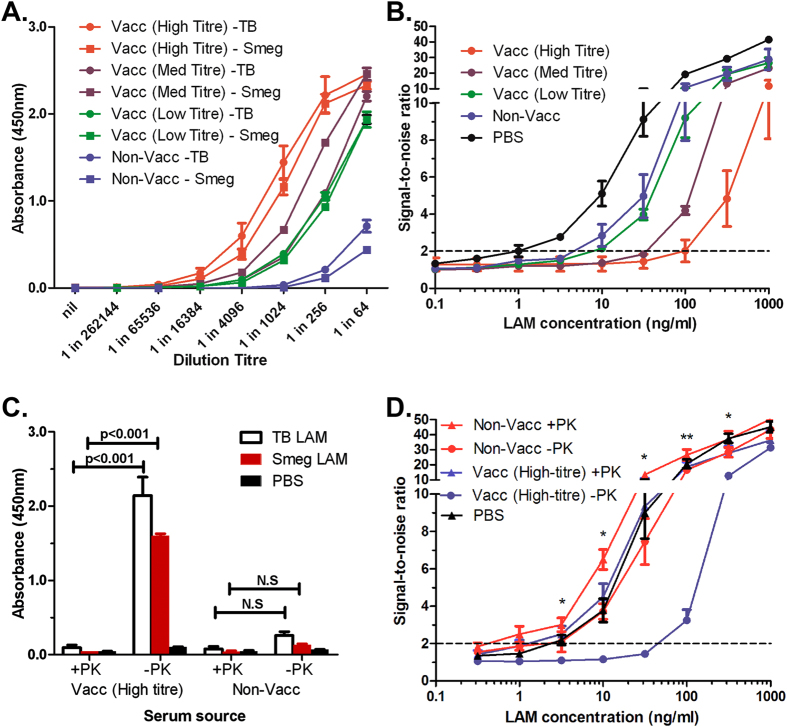 Improvement of My2F12 assay sensitivity by serum denaturation. (A) Anti-LAM antibody titres from BCG vaccinated and non-vaccinated individuals. (B) Sandwich ELISA signal-to-noise ratio showing inverse correlation between levels of endogenous anti-LAM antibodies and limit of detection. A limit of detection (dotted line) is set at a ratio of 2 and noise is defined as the signal obtained with no LAM added (C) Significant reduction of levels of endogenous anti-LAM antibodies in serum (at 1:512 dilution) by Proteinase K and heat treatment. (D) Improvement in sensitivity of sandwich ELISA as after denaturation of endogenous anti-LAM antibodies in serum samples with proteinase K and heat treatment (+PK) as compared to untreated spiked serum (-PK) and PBS standards. All data shown are the average of three independent experiments and error bars show standard error of mean. Concentrations of ManLAM are that in whole blood spiked before coagulation. (* p