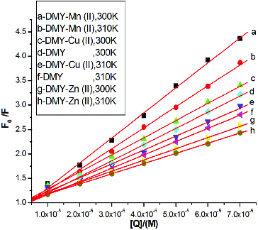 Stern-Volmer plots for BSA fluorescence quenching by DMY, DMY-Cu (II), DMY-Mn (II) and DMY-Zn (II) complexes at 300 and 310 K.