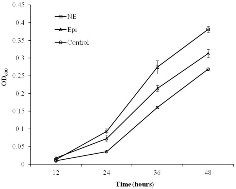 Growth response of C. jejuni NCTC 11168 to Epi or NE in iron-restricted MEMα medium containing 10% FBS . Results represent the mean plus the standard deviation (SD) of three independent experiments.