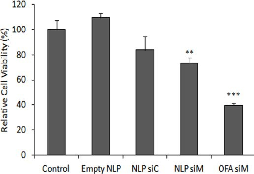 Enhancement of chemosensitivity to doxorubicin. Cytotoxicity of doxorubicin in MCF-7/ADR cells was assessed by MTT. Untransfected cells (control), cells transfected with liposomes containing MDR1 siRNA 100 nM (NLP siM, OFA siM) or cells transfected with empty NLP (NLP) or NLP containing control siRNA 100 nM (NLP siC) (as negative controls). After 48 hr, cells were incubated with 10 µM doxorubicin for 48 hr. Relative cell viability compared with control group has been reported. Data are means±SEM (n=3; ** P