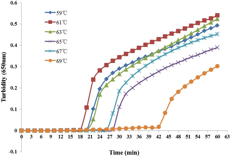 Different temperatures at which the LAMP reaction detected K. pneumoniae . Turbidity was monitored every 6 s with a <t>Loopamp</t> <t>Realtime</t> Turbidimeter at 650 nm.