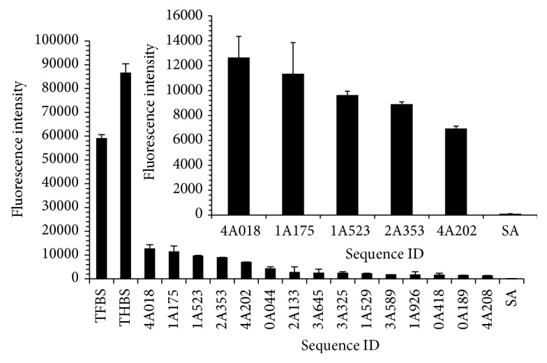 Microarray performance of the top 15 ranked potential thrombin binders of PT2 compared to controls. Inset: close-up view of the intensities of the top 5 ranked sequences compared to the negative control. Error bars represent standard deviation of replicates of fluorescence values obtained from a 2 h incubation of 100 nM Cy3-thrombin with the microarray at 20°C.