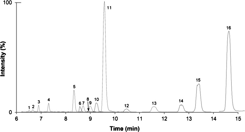 Overlayed quantifier extracted ion chromatograms of a blank wheat sample spiked at the medium level, with 1 NIV3Glc; 2 NIV; 3 DON3Glc; 4 DON; 5 β-ZEL14Glc; 6 ZEN16Glc; 7 α-ZEL14Glc; 8 HT2-3-Glc; 9 3Ac-DON; 10 ZEN14Glc; 11 ZEN14Sulf; 12 HT2; 13 β-ZEL; 14 α-ZEL; 15 T2; 16 ZEN