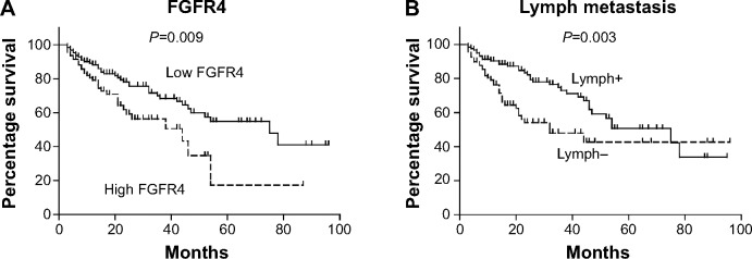 Correlations between overall survival rate and FGFR4 expression and lymph invasion status. Notes: Higher FGFR4 expression ( A ) and positive lymphatic invasion ( B ) can predict unfavorable prognosis of serous ovarian cancer. Abbreviation: FGFR4, fibroblast growth factor receptor 4.