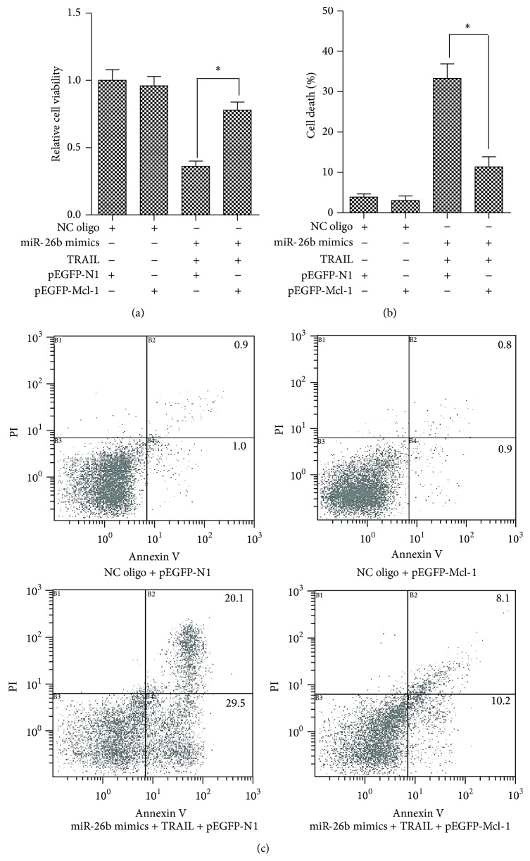 Mcl-1 abolished the sensitization of miR-26b to TRAIL-induced cytotoxicity. Three independent experiments were performed. (a) HepG2 cells were transfected with indicated RNA oligos with/without TRAIL. Then the MTT assay was performed for evaluating the cell viability. ∗ P