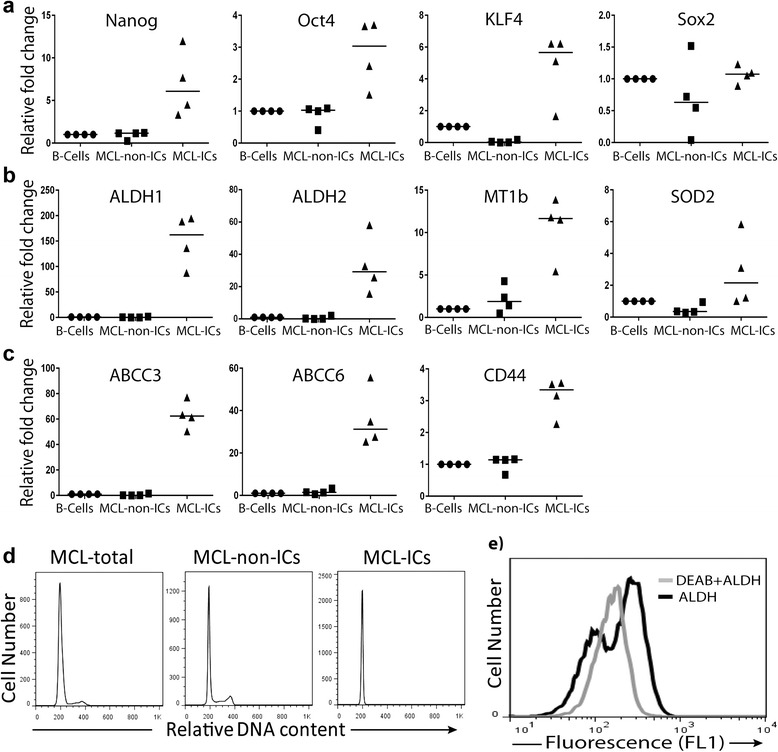Stem cell-like properties of MCL-ICs. a – c qRT-PCR performed using the total cellular RNA isolated from MCL-ICs ( n = 4) for a stem cell transcription factors (Nanog, Oct4, Sox2, Klf4), b ALDH isoforms and antioxidant enzymes SOD2 and MT1b, and c chemoresistance-associated genes encoding ABCC3, ABCC6, and CD44. Differences between MCL-ICs and MCL-non-ICs were significant ( P