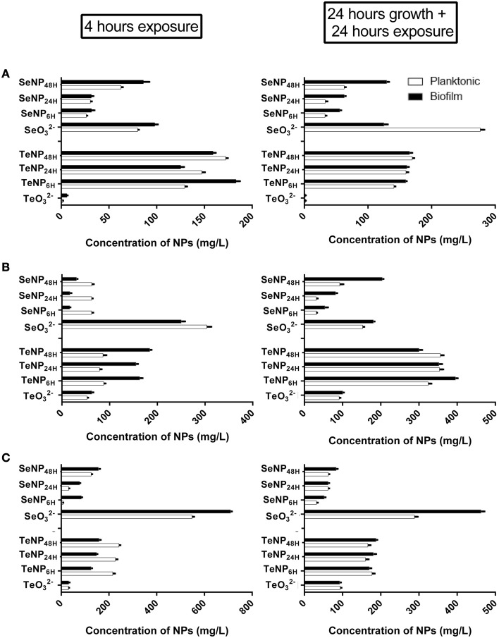 EC 50 of SeNPs and TeNPs for planktonic and biofilm cultures of E. coli <t>JM109</t> (A), P. aeruginosa PAO1 (B), and S. aureus ATCC 25923 (C) after 4 h of exposure and 24 h of growth + 24 h of exposure .