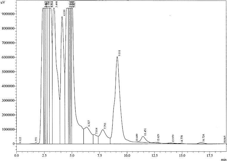 Representative HPLC chromatogram of urine sample obtained from a rat dosed with rebamipide.