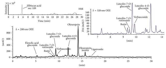 Phenolic profile of OEE at λ = 280 and 320 nm and extracted ion chromatography of hibiscus acid. The analysis of phenolic compounds was performed by liquid chromatography coupled online with a UV-Vis detection and a <t>triple</t> <t>quadrupole</t> <t>mass</t> <t>spectrometer</t> as reported in Methods section.