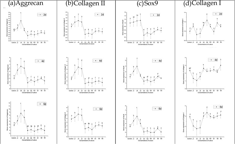 Quantitative comparison of ECM-related gene expression of aggrecan (a), collagen II (b), Sox9 (c) collagen I (d) and by qRT-PCR. The chondrocytes were cultured with different concentrations of JEZ-C, GA and SMZ: Control (K: 0 μg/ml), JEZ-C (J-1: 6.25×10 −7 μg/ml; J-2: 6.25×10 −6 μg/ml; J-3: 6.25×10 −5 μg/ml), GA (G-1: 0.078 μg/ml; G-2: 0.125 μg/ml; G-3: 0.156μg/ml) and SDM (S-1: 6.25×10 −6 μg/ml; S-2: 6.25×10 −5 μg/ml; S-3: 6.25×10 −4 μg/ml) for 6 d (n = 3 for each experiment). The gene expression levels in JEZ-C, GA and SMZ media relative to the control group were analyzed by the 2 -ΔΔCT method using β-actin as the internal control. The data represent the means ± SD of three independent culture experiments. *p