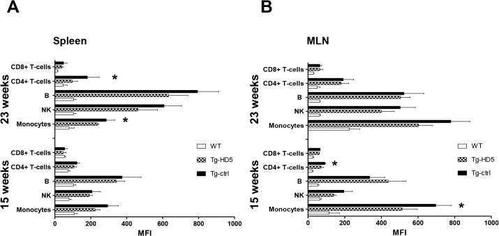 Reduced accumulation of cell-surface B27 2 molecules in Tg-HD5 rats. Analysis of cell-surface B27 2 from spleen and MLN was performed using HD6-biotinylated and detected by streptavidin-APC in WT-littermates and HLA-B27 rat groups at 15 and 23 weeks . (A-B) MFI values plotted of positive B27 2 stains from flow cytometry analyzed splenocytes (n = 5) (A) and MLN (n = 5) (B) subpopulations. Values are expressed as mean±SEM. *p