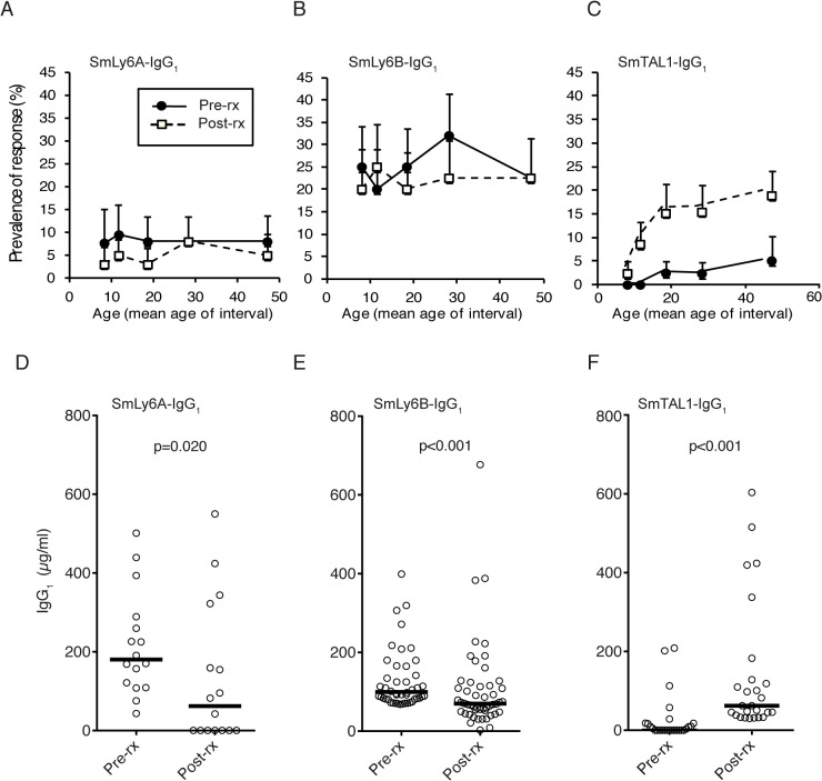 Praziquantel treatment does not alter SmLy6A and SmLy6B IgG 1 age distribution profiles, but does decrease antigen-specific IgG 1 reactivity. SmLy6A-, SmLy6B- and SmTAL1-specific IgG 1 were measured before and 9 weeks after praziquantel treatment in a cohort of infected males (n = 216). A) Age–associated profiles of SmLy6A-, B) SmLy6B-, and C) SmTAL1-specific IgG 1 responses pre- and post-praziquantel treatment. (D) Effect of praziquantel treatment on human IgG 1 responses to SmLy6A, (E) SmLy6B and (F) SmTAL1. IgG 1 levels for those individuals producing a detectable response ( > mean+3xSD uninfected controls) to SmLy6A (n = 16), SmLy6B (n = 50) or SmTAL1 (n = 26) before treatment are shown and the median value is represented by a horizontal bar. P -values were calculated using a Wilcoxon signed-rank test comparing pre-treatment and post-treatment antibody levels.
