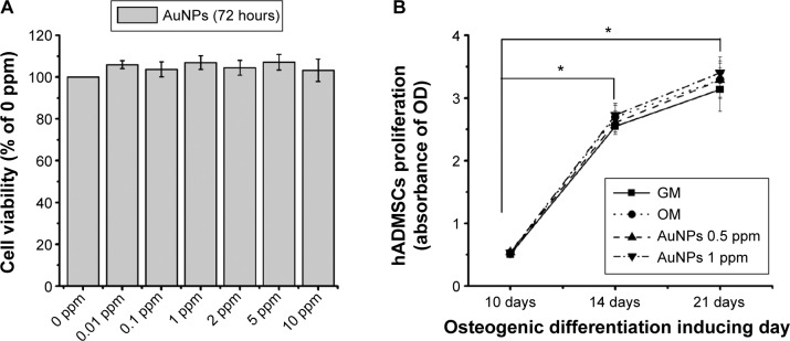 Effects of chitosan-conjugated AuNPs. Notes: ( A ) On the cell viability of hADMSCs for 72 hours in a growth medium (GM) and ( B ) on the cell proliferation of hADMSCs for 10, 14, and 21 days after the induction of osteogenic differentiation. Results are mean ± SE of the triplicate experiments. * P