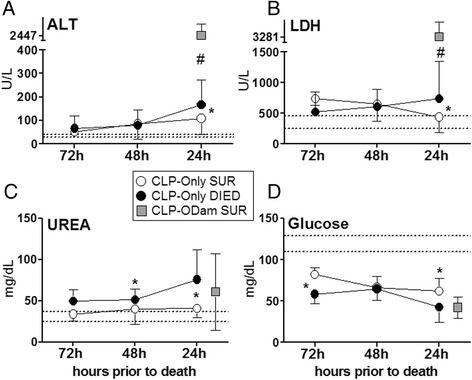 Retrospective comparison of organ function between dying and surviving septic mice using death as reference point . Plasma levels of (A) ALT, (B) LDH, (C) urea and (D ) glucose in mice subjected to CLP were compared between those that either died (CLP-Only DIED) or survived (CLP-Only SUR) and additionally to surviving CLP-ODam mice (CLP-ODam SUR). For (A) to (D) in the CLP-Only group: at 72 h, DIED n = 9 and SUR n = 35; at 48 h, DIED n = 33 and SUR n ≥ 30; at 24 h, DIED n = 42 and SUR n = 40. In the CLP-ODam SUR group, an average value of all combines measurements (i.e. taken at 24, 48 and 72 h post-CLP; n = 9) is shown at the 24 h prior death time point; * p