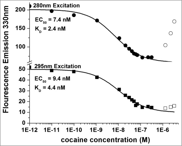 Titration of 5 nM h2E2 antibody with cocaine, with excitation at both 280 nm and 295 nm. Only data represented by filled symbols were used for fitting to obtain the indicated sigmoidal curves to derive the EC 50 values. Note the y-axis brake in scale to allow visualization of the quality of the fitted curves for both sets of data on a single plot. K D values were calculated from the EC 50 values and the antibody or Fab concentration as described in Methods. For the experiment shown in the figure (using the intact h2E2 mAb and 295 nm excitation), K D = EC 50 – (0.5 × 2 sites/mAb × 5.0 nM mAb) = 9.4 nM – 5.0 nM = 4.4 nM = K D for cocaine binding to the h2E2 monoclonal antibody.