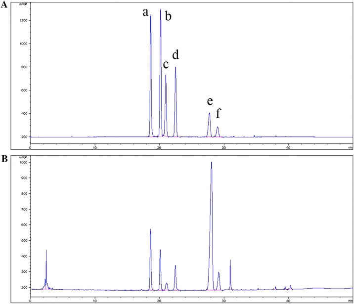 <t>HPLC-ELSD</t> chromatograms of standard saponins ( A ) and <t>AFS</t> ( B ). ( a ) Anhuienoside E. ( b ) Glycoside St-I4a. ( c ) 3- O - α - l -Rhamnopyranosyl (1 → 2)- β - d -glucopyranosyl oleanolic acid 28- O - β - d -glucopyranosyl (1 → 6)- β - d -glucopyranosyl ester. ( d ) Hemsgiganoside B. ( e ) Flaccidoside II. ( f ) Hederasaponin B.