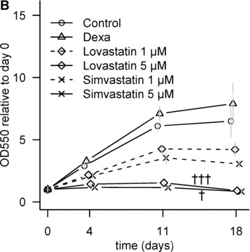Effect of statins on cell number. (A) Dose-dependent decrease in cell number at day 18. C, non-induced control; D, dexa; L, lovastatin; S, simvastatin. The numbers next to letters represent concentrations in μM. 1 donor, the error bars show S.D. of triplicates (experimental error). (B) Relative metabolic activity determined by MTT assay at different time-points. All values are compared to day 0. The grey error bars represent standard deviation of triplicate samples from 2 donors. † P