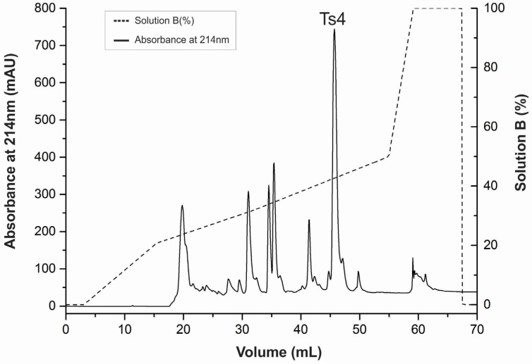 Reversed-phase FPLC of fraction VIIIB resulting from the Ts venom fractionation procedure. The fraction VIIIB was submitted to a reversed-phase chromatography on a C18 column (4.6 mm × 250 mm, 5 μm particles) equilibrated with 0.1% ( v / v ) of <t>trifluoroacetic</t> acid (TFA). Adsorbed proteins were eluted using a concentration gradient from 0% to 100% of solution B (80% acetonitrile in 0.1% TFA), represented by the dotted line. Flow: 0.8 mL/min. Absorbance was monitored at 214 nm, at 25 °C.