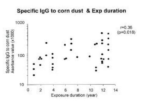 Correlation between specific IgG to corn dust and exposure duration. A statistical significance was noted (r=0.36, p=0.02).