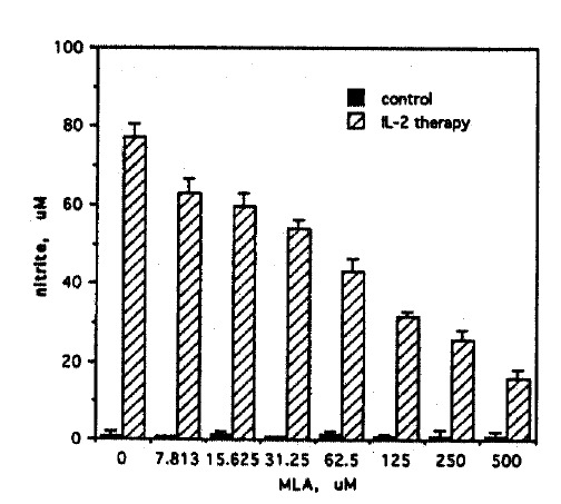 Effect of MLA on NO synthesis of Meth A ascites cells from IL-2 treated mice. Meth A ascites cells harvested from IL-2 treated mice were cultured at 1.5×10 5 cells/well in microtiter plates in triplicate with varying concentrations (0–500 μ M) of MLA. After a 48h culture, nitrite was measured in 50 μ l culture supernatants by a colorimetric assay. Results are mean±SD. Ascites tumor cells harvested from untreated mice served as controls.