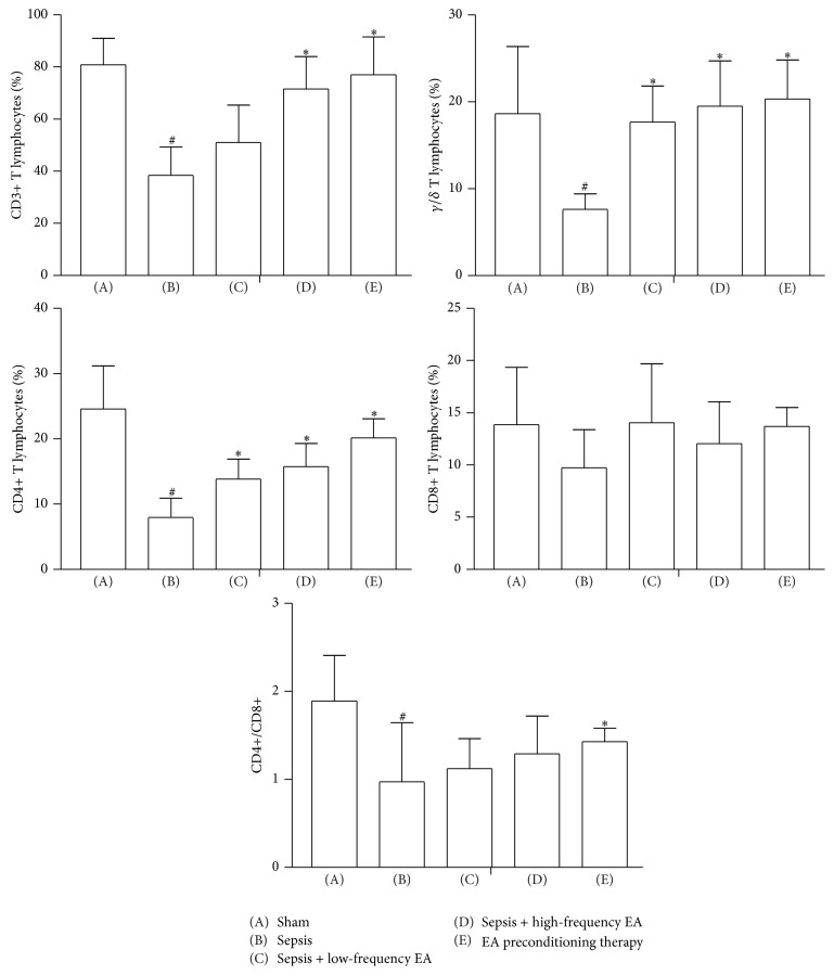 Effects of EA on percentage of CD3+, <t>CD4+,</t> and <t>CD8+</t> T lymphocytes in intestinal mucosa. Data were presented as means ± SD ( n = 5) and # p