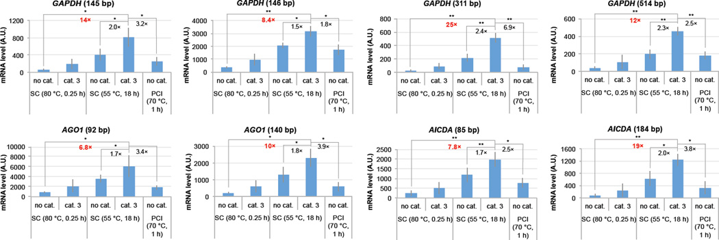 "Enhancement in recovery of RNAs from formalin-fixed, paraffin-embedded cell specimens using catalyst 3 (20 mM) as compared with different incubation and isolation conditions. Amplifiable RNA yield is plotted for eight amplicons, and quantity is determined with a standard curve. Lane 1 employs incubation conditions from a commercial kit (Qiagen AllPrep ® DNA/RNA FFPE kit), which uses an 80 °C, 0.25 h incubation step without catalyst (""no cat"") and a spin column for isolation, with the addition of catalyst to these conditions shown in lane 2 (""cat. 3""). Optimized incubation conditions (55 °C, 18 h) followed by a spin column RNA isolation are shown in lanes 3–4. A common literature procedure is shown in lane 5 (""PCI"") 28 . Addition of the catalyst to the optimized incubation conditions results in a ~2 fold increase in detectable RNA, and more substantial increases relative to the catalyst-free commercial kit protocol (see enhancements in red) or the literature protocol. The means of three independent experiments are shown, error bars indicating the standard deviation of variation in the qRT-PCR yield. SC: spin column isolation. PCI: Masuda protocol of phenol-chloroform-isoamyl alcohol extraction followed by heating in buffer. 28 A.U.: arbitrary units. Significance for pairwise comparisons shown was tested using a 1-tailed paired samples t-test. *: P"