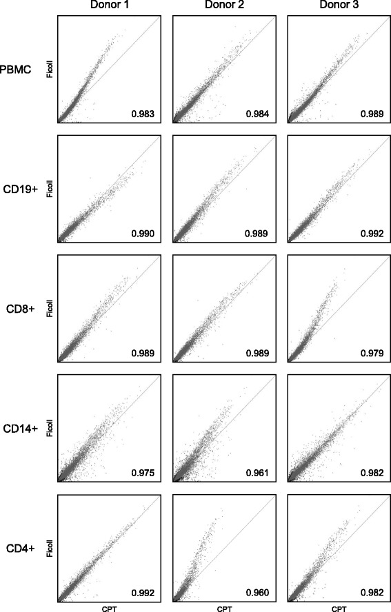 Signal scatter plots comparing the intensities of gene expressions on microarray chips within Ficoll and CPT-derived PBMC and their immune cell subsets for each healthy donor tested. The expression signals of Ficoll-derived cells were plotted against the expression signals of CPT-derived cells for each cell type and donor. A line of perfect correlation is indicated in all plots. Pearson's correlation coefficients between each pair of samples are shown at the bottom right of each plot. The data showed that the pattern of gene expression was very similar between Ficoll and CPT-derived cell types, as indicated by the high correlation coefficients
