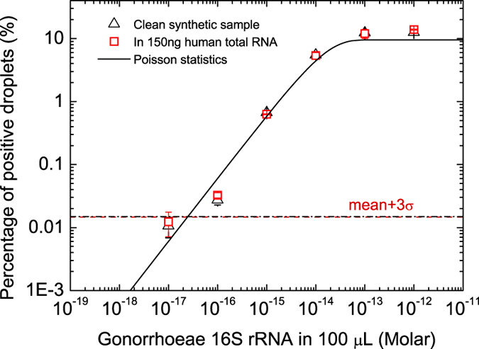 Quantification of a model RNA (synthetic Neisseria gonorrhoeae 16S rRNA). Plot shows the percentage of the positive droplets as a function of 16S rRNA concentrations in 100 μL of testing samples. The empty squares are results from clean synthetic sample, and the solid squares are results from samples with 150 ng of human total RNA background.