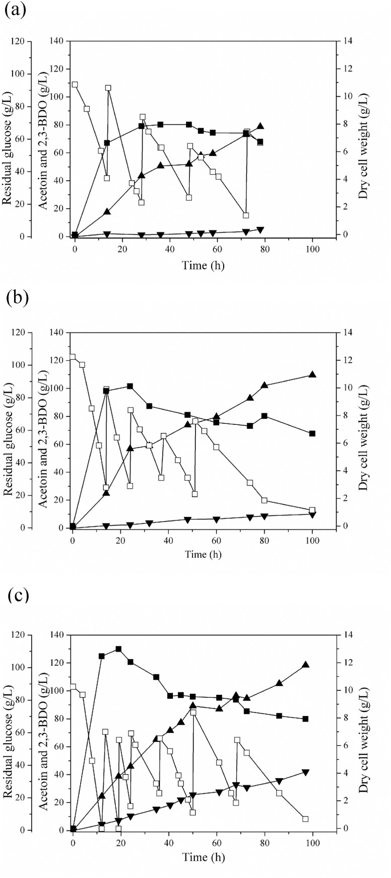 Time course of 2,3-butanediol production by K . oxytoca M1 at different agitation speeds. (a) 200 rpm, (b) 300 rpm, and (c) 400 rpm. Symbols indicate dry cell weight (■), residual glucose (□), 2,3-BDO (▲), and acetoin (▼).