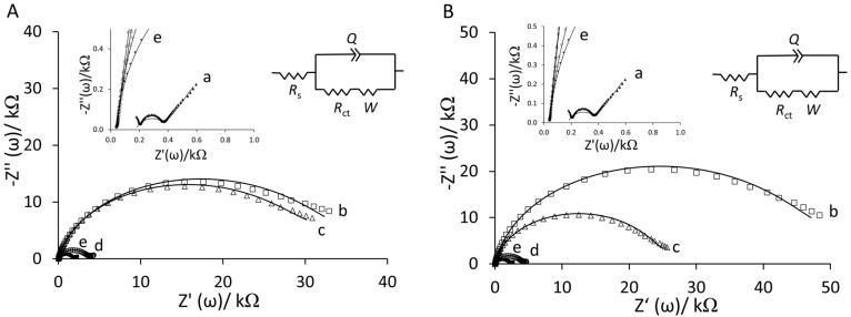 Nyquist plots of the step-wise surface fabrication of ( A ) YNGRT-Au and ( B ) VLGXE-Au: (a) bare Au, (b) Lip-NHS, (c) peptide, (d) ethanolamine and (e) 2-mercaptoethanol (inset: equivalent circuit used for fitting impedance data).