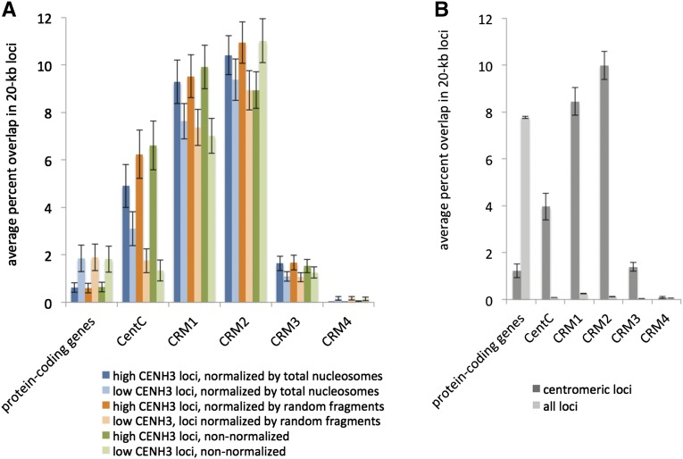 "Genes and repetitive DNA in centromeres. (A) Overlap between CENH3 enrichment and genetic elements. Within the centromere, we assigned each 20-kb locus into one of two categories, ""low CENH3 loci"" and ""high CENH3 loci,"" based on whether it exhibited less than or greater than the median CENH3 enrichment. Results are shown for three methods of measuring CENH3 enrichment. The first two are relative to a total nucleosome control produced by MNase digestion of total chromatin and relative to a randomly sheared naked DNA control produced by NEBNext dsDNA Fragmentase ( Gent et al. 2014 ). In both cases, only uniquely mapping reads were considered. In the third method, no control was used, and enrichment was defined by raw read counts, including nonuniquely mapping reads. Errors bars are standard errors of the means for each set of loci. (B) Comparison of genetic elements in centromeric 20-kb loci and whole-genome 20-kb loci, but without regard to relative CENH3 enrichment within centromeres"