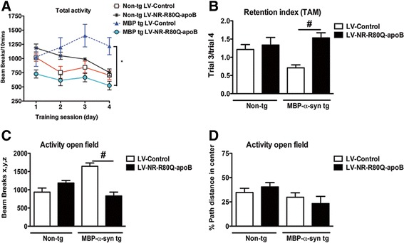 Treatment with LV-NR-R80Q-apoB improves the behavioral deficits in MBP-α-syn tg mice. Non-tg mice or MBP-α-syn tg mice treated with LV-Control or LV-NR-R80Q-apoB were tested in the open field test for 4 successive days or for a fixed period to ascertain the functional effects of LV-NR-R80Q-apoB treatment. a Total activity after consecutive days was performed, this is a test of habituation to a novel environment and of memory acquisition. b Retention score analysis representing the ratio between trials 3 and 4. c Total spontaneous activity after 10 min in the open field test. d Total activity in the center of the cage, no differences were noted among the 4 groups. n = 10 mice per group 9–10 m/o at the end of the treatment. Scale bar = 10 μm. * indicates statistical significance ( p