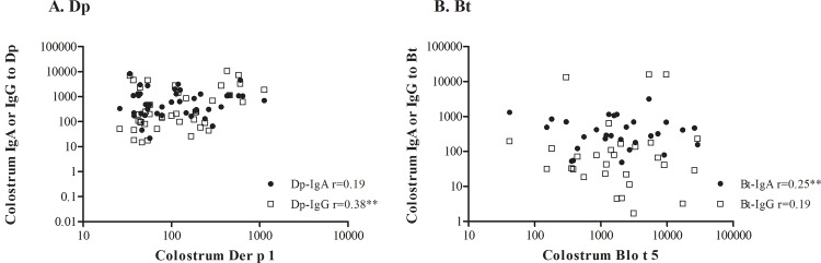 Correlation between specific IgA or <t>IgG</t> to Dp (A) or Bt (B) and Der p 1 (A) or Blo t 5 (B) allergens. Correlation coefficients were determined using Spearman's tests; ** p