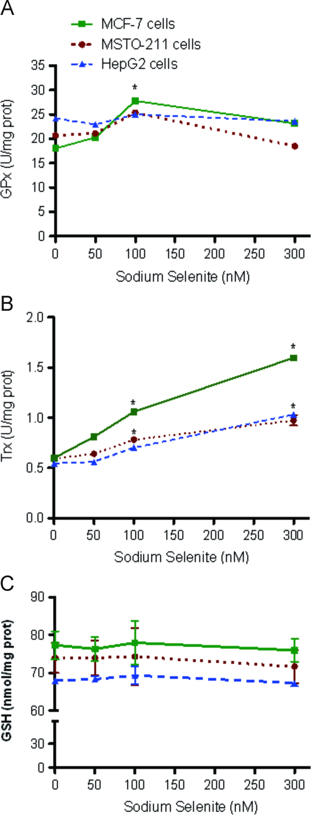 Effect of increasing levels of sodium selenite (0–300 nM) on glutathione peroxidase activity (A), thioredoxin reductase (TRx) activity (B) and GSH (C) levels in MSTO-211 (●), HepG2 (▲) or MCF-7 (■) cells. Data are mean±SD of at least three independent experiments.* P