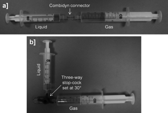 Manual techniques for producing sclerosing foams. In the double syringe system (DSS) method syringes (BD Discardit™ II) were connected by a <t>Combidyn</t> ® adapter ( a ), while in the Tessari method they were connected by a three-way valve set at a 30° off-set ( b ). In both production methods, the foam was generated by passing the polidocanol solution (liquid phase) from one syringe, ten times into and out of the other syringe initially containing a gas or gas mixture (gaseous phase). Throughout these studies, foam was produced at room temperature by a single operator