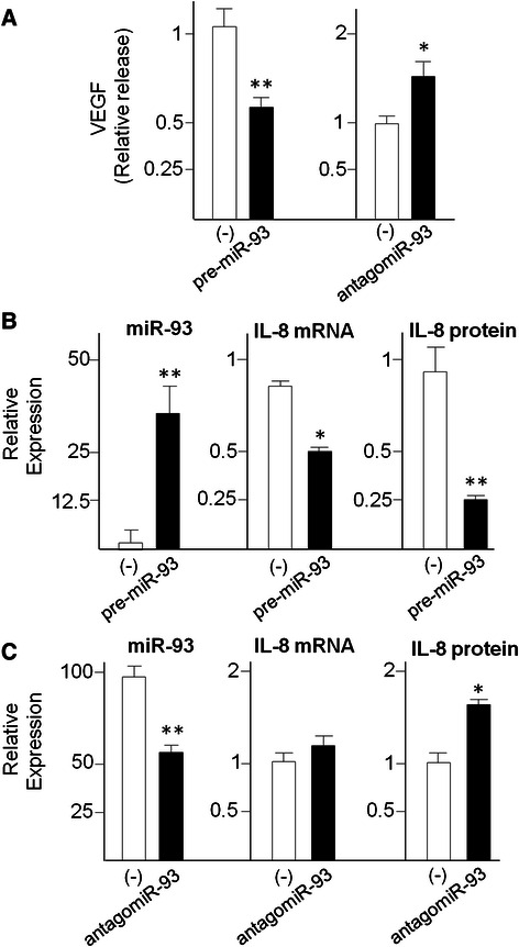 Effects of the treatments of glioma U251 cells with pre-miR-93 and antagomiR-93. VEGF ( a ) and IL-8 released protein ( b , c ) were quantified by Bio-plex analysis. RNA was isolated from cultures after 48 h in vitro growth and analyzed by RT-qPCR. Internal RT-qPCR control were U6 snRNA and let-7c for miR-93, RPL13A and 18S for IL-8 mRNA. Data are in all cases reported in comparison to U251 cells treated with control scrambled sequences. Results represent the average ± S.D. of at least three independent experiments. * p