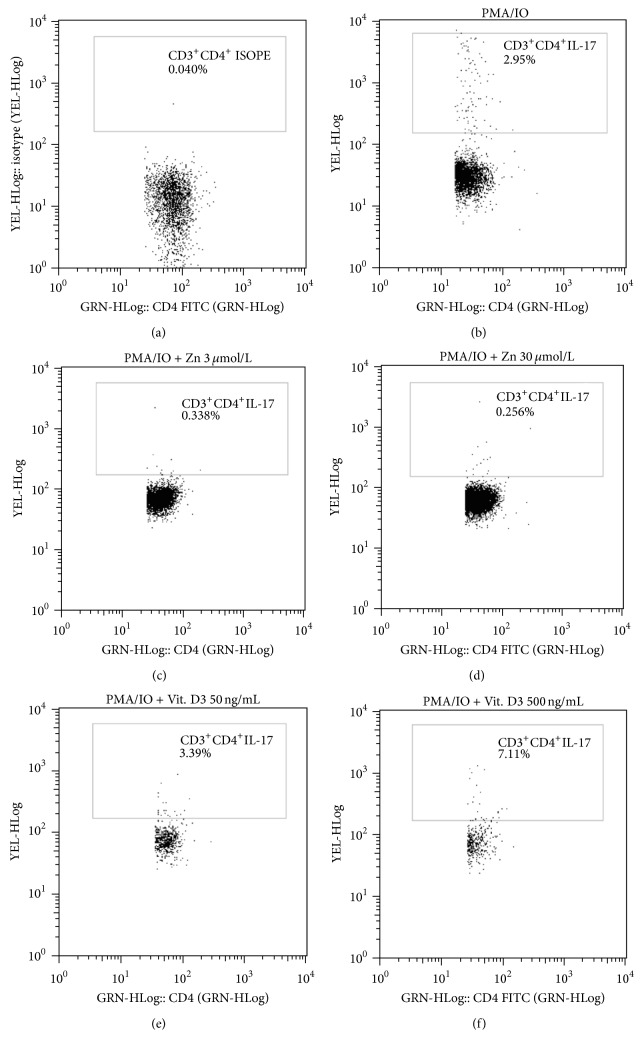 Representative flow <t>cytometry</t> plots for one patient are shown and gating of CD3 + CD4 + ISOPE is indicated (a). Phorbol 12-myristate 13-acetate and ionomycin-stimulated peripheral blood mononuclear cells were stained and analyzed for IL-17 production (b). Inhibitory effect of Zn on IL-17 production with 3 μ mol/L concentration (c) and 30 μ mol/L concentration (d). Vitamin D3 effect on IL-17 production with 50 ng/mL concentration (e) and 500 ng/mL concentration (f).