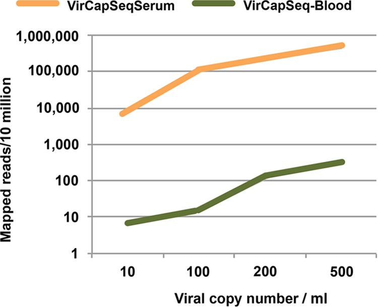 Efficiency of viral read mapping with VirCapSeq-VERT. Human blood and serum were spiked with live enterovirus D68 virus stock quantitated by qPCR to generate samples with 500, 200, 100, or 10 copies/ml. Five hundred microliters of each sample was extracted and processed with VirCapSeq-VERT.