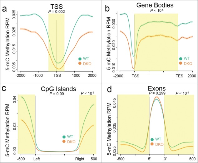 Ion Torrent-compatible MeDIP-Seq detects expected differences in DNA methylation between DNMT -proficient and - deficient cells. Distribution of 5mC methylation over the indicated bp window of all RefSeq annotated TSS ( a ), gene bodies ( b ), CpG islands ( c ), and exons ( d ). Methylation of WT (green line) and DKO (orange line) HCT116 cells are displayed as mean RPM values with s.e.m. indicated as a semi-transparent shade around the mean curve. Yellow shaded areas highlight regions of significant difference between WT and DKO methylation calculated using a one-sided KS test ( P -values shown). In c and d , a KS test was performed using data over the non-shaded areas as well ( P -values shown).