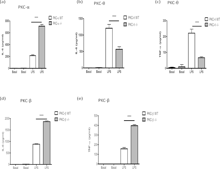 TLR-4-mediated cytokine release by PKC isoform −/− and matched WT BMMCs (a: PKC-α; b and c: PKC-θ; d and e: PKC-β). BMMCs were incubated with LPS (1 μg/ml) for 24 h. IL-6 and TNF-α release were measured by ELISA. The data presented are single experiments representative of at least 3 independent experiments with the exception of those involving PKC-θ −/− TNF-α release, which are representative of 2 experiments. Statistical analysis was by ANOVA with Bonferoni post test where * P