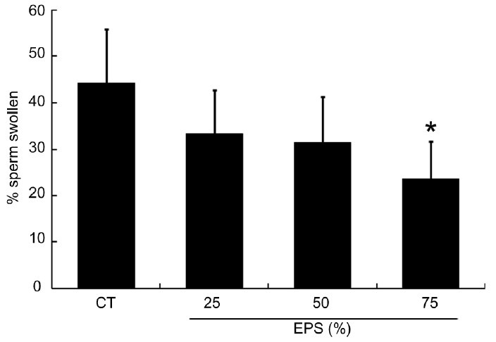 The effect of extracellular polymeric substances (EPS) of Trichomonas vaginalis on the proportion of sperm reacting positively to the hypo-osmotic swelling test. The percentage of swollen sperm was greatly reduced in sperm incubated with 75% EPS prepared from T. vaginalis . Sperm were incubated for 2 h in 25%, 50%, or 75% of EPS diluted in Hank's balanced salt solution (HBSS). CT: control sperm were incubated at 37°C for 2 h in HBSS that did not contain EPS. Values are the mean ± standard deviation of three separate experiments; 200 cells were counted per treatment per experiment. * P = 0.033 compared with the control.