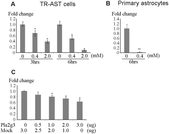 Overexpression of <t>Pla2g3</t> reduces IDE expression. A , B , Quantitative RT-PCR result of IDE in TR-AST cells and rat primary astrocytes. TR-AST cells and primary astrocytes were treated with hydrogen peroxide in indicated conditions. Fold changes to the non-treated cells as controls are indicated. C , Quantitative PCR results of IDE in Pla2g3 transfected HEK293 cells. Human Pla2g3 was transiently expressed and cells were harvested after 48 hours of transfection. Fold changes to the mock control are indicated. *p