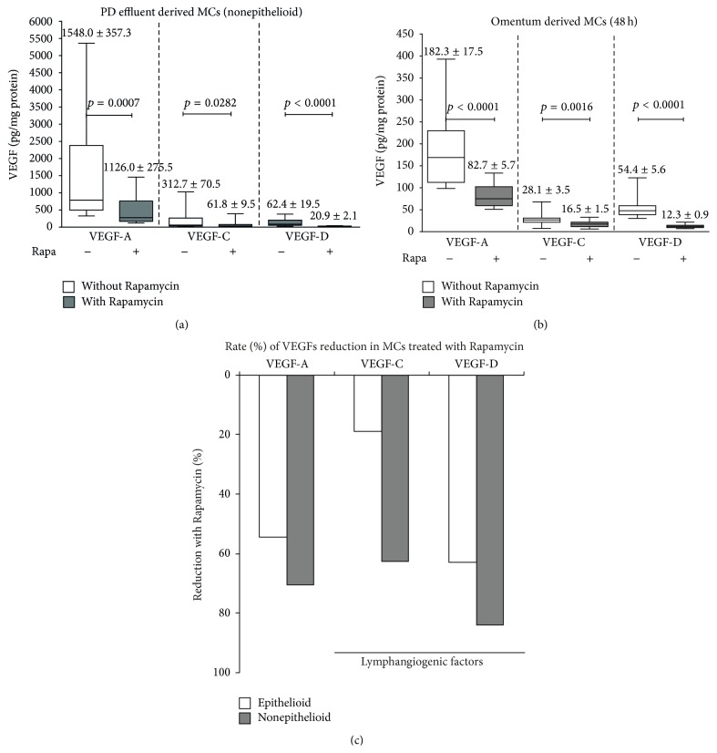 Rapamycin decreases the VEGF production by MCs. Omentum and PD effluent derived MCs were cultured and stimulated with Rapamycin 2 nM during 48 h. We performed two parallel cultures with equal numbers of MCs. A group received Rapamycin while the other was untreated. Supernatants were collected and VEGF-A, VEGF-C, and VEGF-D were measured. Rapamycin significantly decreased VEGFs, mainly the prolymphopenic VEGF-C and VEGF-D forms (a and b). We also calculated the reduction rate (%). Importantly in nonepithelioid MCs derived from PD effluent, VEGF-D was reduced by 82% and VEGF-C (gray bar graphic) by 63%. In omentum-derived MCs (white bar) the VEGF-D and VEGF-C were reduced by 63% and 20%, respectively (c). Box plots graphics represent 25th and 75th percentiles and median, minimum, and maximum values. Statistical differences between groups are shown (mean ± SD).