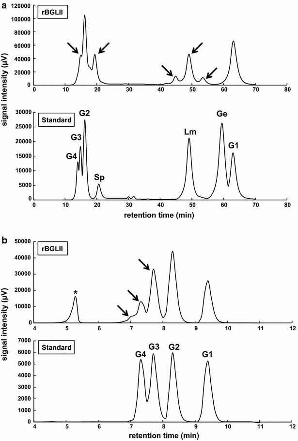 Chromatogram of transglycosylation products by <t>rBGLIIwt.</t> HPLC analysis of transglycosylation products using purified recombinant wild-type <t>BGLII</t> in E. coli . a The chromatogram generated by the Prominence HPLC system. In the standard chromatogram, G4, G3, G2, and G1 represent cellotetraose, cellotriose, cellobiose, and glucose peaks, respectively. Other β-disaccharides, α-sophorose, laminaribiose, and gentiobiose are represented by Sp, Lm, and Ge, respectively. b The chromatogram of size exclusion chromatography. Cello-oligosaccharides were used as the standard substance. Putative transglycosylation products are indicated by arrows . Asterisk refers to the peak of a buffer component in the reactant
