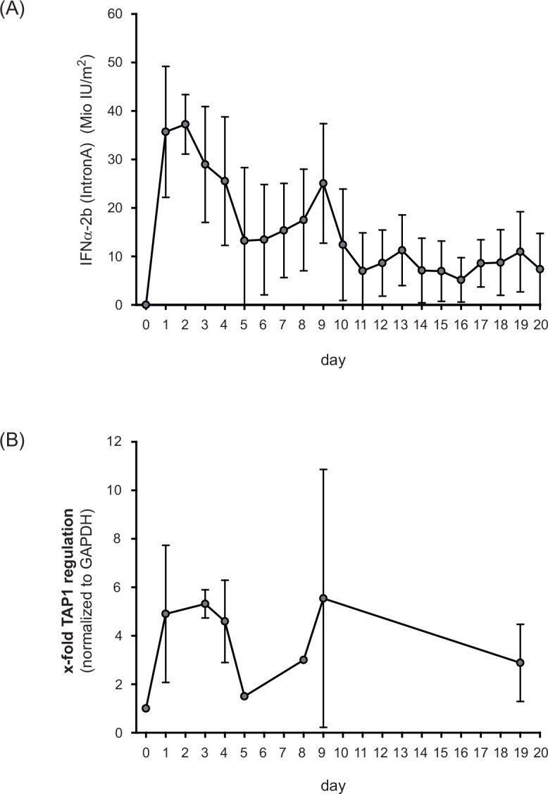IFNα-2b (IntronA) stimulates TAP1 expression in peripheral blood mononuclear cells (PBMC) of patients (n = 18) with malignant melanoma receiving adjuvant high-dose immunotherapy. (A) The actual administered dose of IFNα-2b was about 20 million IU/m 2 dependent on the clinically observed side effects. Only days of IFNα treatment are shown. (B) mRNA expression of TAP1 in PBMCs of patients treated with adjuvant high-dose IFNα-2b. Statistical analysis of TAP expression was performed using the Statistical Analysis System of the SAS Institute Inc. (Cary, NC, USA).