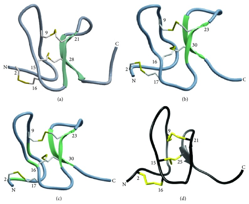 Three-dimensional structures of spider-derived ICK peptides. Protein Data Bank ID numbers for NMR structures of (a) ProTx-I [ 31 ] and (b) GsMTx-4 [ 33 ] are 2M9L and 1TYK, respectively. 3D structure models of (c) GTx1-15 were constructed by homology modeling with ICM-PRO (Molsoft, La Jolla, CA) based on NMR structures of HnTx-IV (PDB: 1niy). (d) NMR structure of ProTx-II by Park et al. [ 35 ]. Reprinted with permission from [ 35 ]. Copyright: 2014 American Chemical Society. β -Sheets are indicated as green or black arrows and disulfide bonds are highlighted with yellow. Note: spider-derived ICKs have only two antiparallel β -sheets and three disulfide bonds except for ProTx-II which has only one β -sheet.
