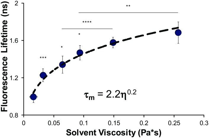 Fluorescence lifetime measurements of in vitro λ-DNA solutions of varying viscosity. We determine the mean fluorescence lifetime dependence of Hoechst 33342 bound to λ-DNA in solutions of varying viscosity glycerol-ethylene glycol solutions. We see a strong dependence of the mean fluorescence lifetime on viscosity over the range here. Viscosity measurements for the glycerol-ethylene solutions were determined using a Discovery Hybrid Rheometer-2. Statistical comparisons made by Student's t-test, with *p
