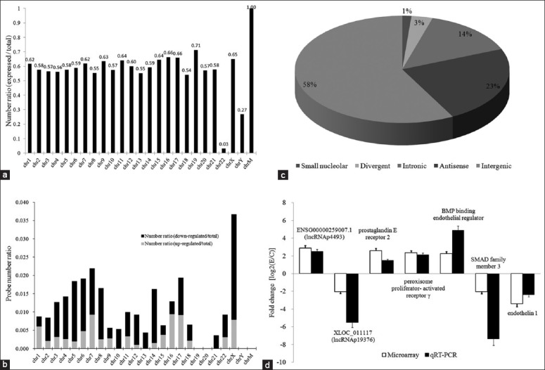 Overall profiles of the glucocorticoid versus control transcriptomes of bone microvascular endothelial cells (BMECs). (a) Relative distribution of expressed lncRNAs (expressed probes/total probes) derived from each chromosome; (b) Relative chromosomal distribution of differentially regulated (up- or down-regulated probe number/total probes number) lncRNAs; (c) Annotation of genomic context of differentially expressed lncRNAs; (d) Validation of microarray results by quantitative real-time polymerase chain reaction.
