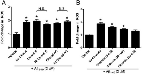 Pharmacological knockdown of other glycosaminoglycan (GAG) family members does not affect Aβ 1-40 -mediated ROS production in VSMC. Primary human cerebral VSMC were pre-treated with <t>chondroitinase</t> B (10 -1 IU/mL; selectively degrades dermatin sulfate; panel a ), chondroitinase AC (10 -1 IU/mL; selectively degrades chondroitin sulfate; panel a ), or varying concentrations of the sulfation inhibitor sodium chlorate (5-50 mM; panel b ) for 2 h, washed, loaded with Mitotracker Red CM-H 2 XRos (MTR; 5 μM), and treated with Aβ 1-40 . In some cases, cells were pre-treated with heat-inactivated (HI) enzyme (at the same concentration of active enzyme) and washed prior to MTR loading and Aβ treatment. Fluorescence was measured after 30 minutes. Results are representative of 3 independent experiments performed in triplicate. *p